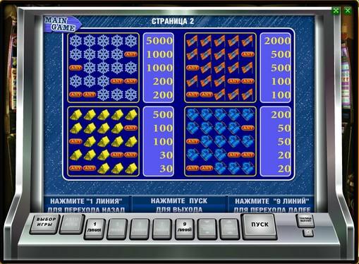 Betalingstabell på spilleautomat Rock Climber
