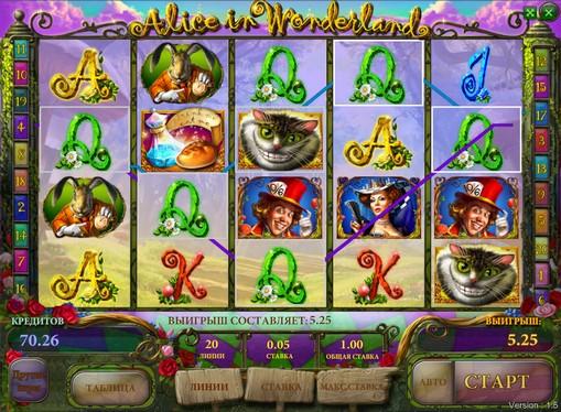 Bonus kombinasjon av spilleautomat Alice in Wonderland