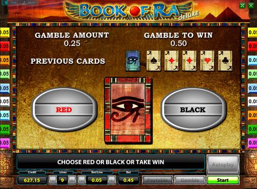 Dobling spill av spilleautomat Book of Ra Deluxe
