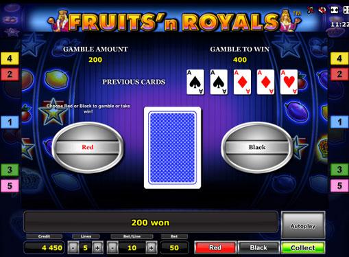 Dobling spill av spilleautomat Fruits'n Royals Deluxe