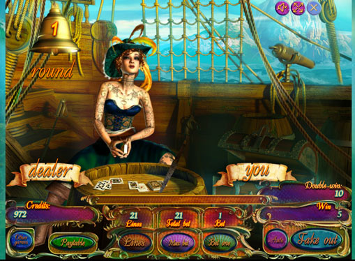 Dobling spill av spilleautomat Pirates Treasures