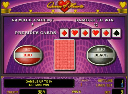 Dobling spill av spilleautomat Queen of Hearts