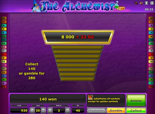 Dobling spill av spilleautomat The Alchemist