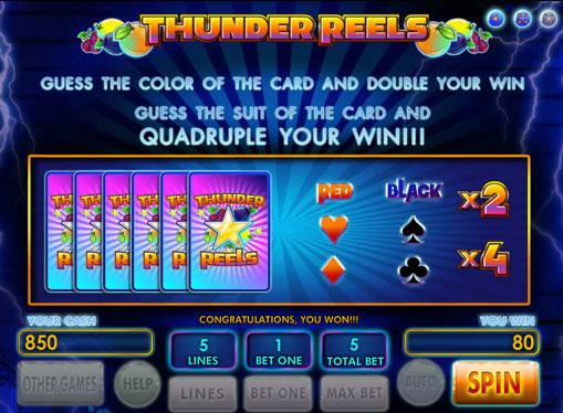 Dobling spill av spilleautomat Thunder Reels