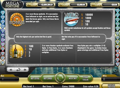 Freispiele des Spielautomat Mega Fortune