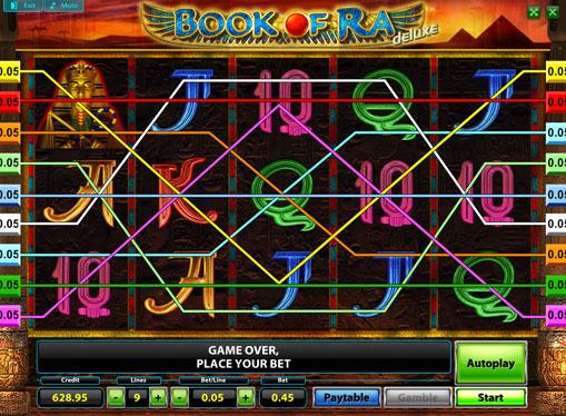 Hjulene til spilleautomat Book of Ra Deluxe