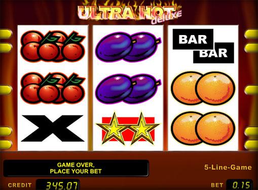 Hjulene til spilleautomat Ultra Hot Deluxe