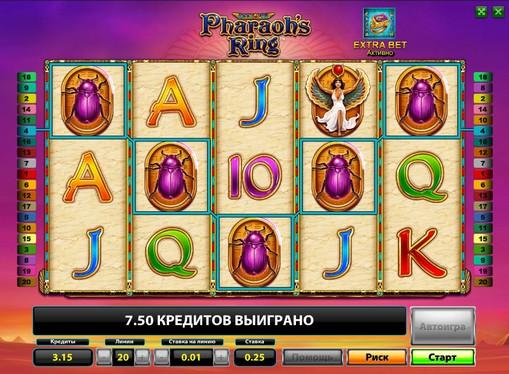 Priser på spilleautomat Pharaohs Ring