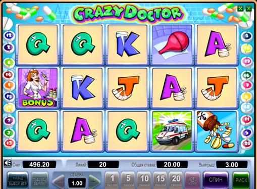 Symboler på en spilleautomat Crazy Doctor