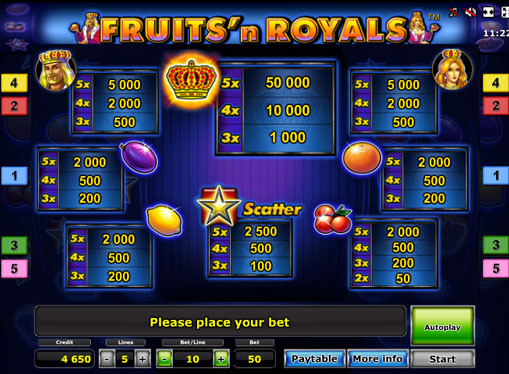 Symboler på en spilleautomat Fruits'n Royals Deluxe