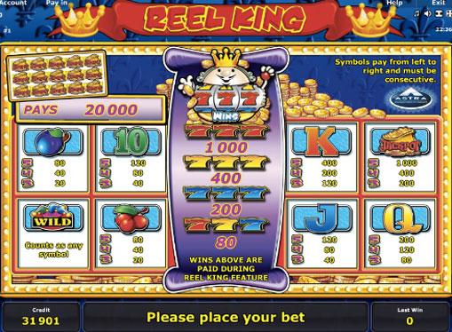 Symboler på en spilleautomat Reel King