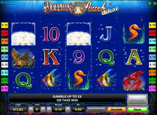 Vinnende linje av spilleautomat Dolphins Pearl Deluxe