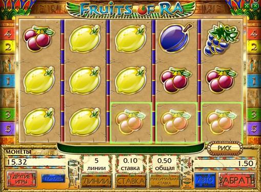 Vinnende linje av spilleautomat Fruits of Ra