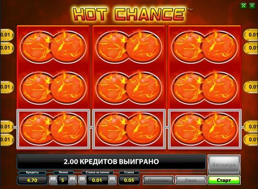 Vinnende linje av spilleautomat  Hot Chance
