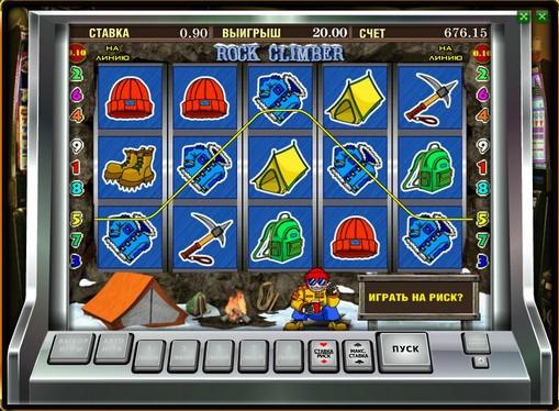 Vinnende linje av spilleautomat Rock Climber