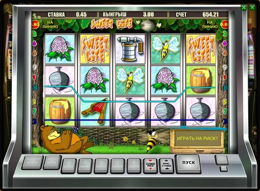 Vinnende linje av spilleautomat Sweet Life